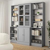 ХАВСТА Комбинация д/хранения+стекл дверц, серый, 203x47x212 см, фото 1