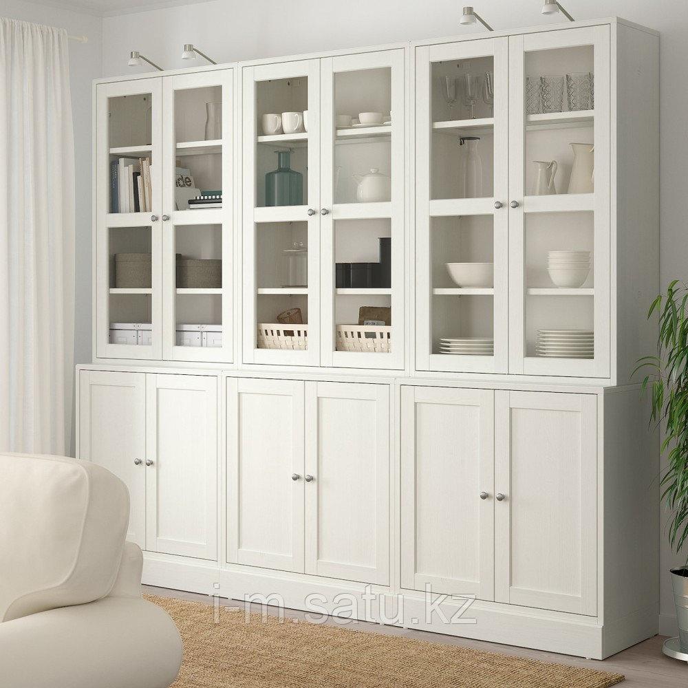 ХАВСТА Комбинация для хранения с сткл двр, белый, 243x47x212 см