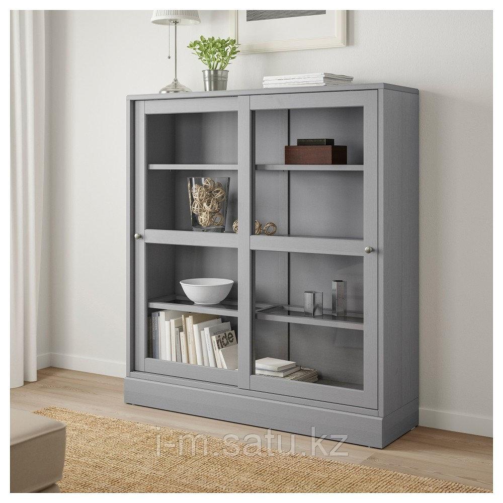 ХАВСТА Шкаф-витрина с цоколем, серый, прозрачное стекло, 121x37x134 см