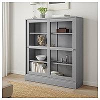 ХАВСТА Шкаф-витрина с цоколем, серый, прозрачное стекло, 121x37x134 см, фото 1