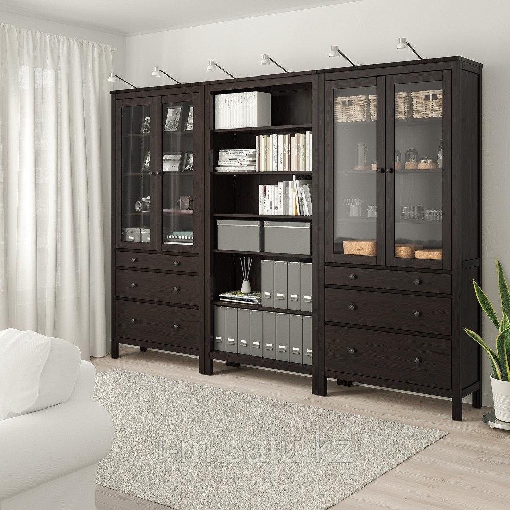 ХЕМНЭС Комб для хран с дверц/ящ, черно-коричневый, 270x197 см