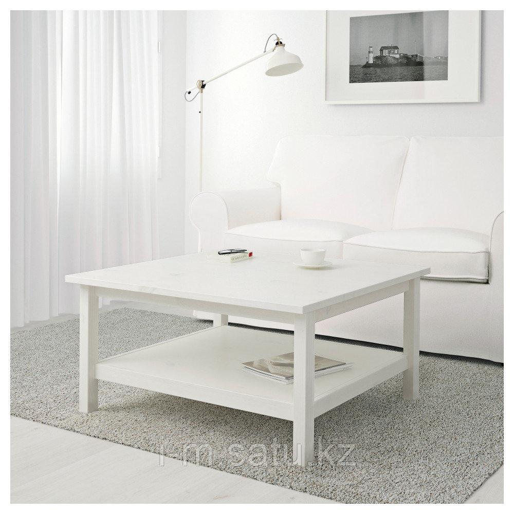 ХЕМНЭС Журнальный стол, белая морилка, 90x90 см