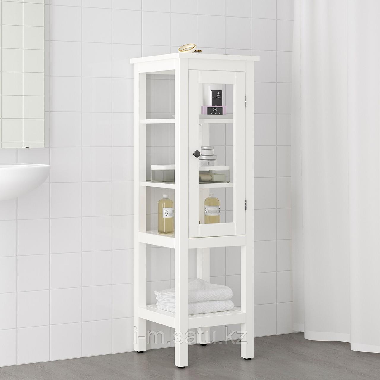 ХЕМНЭС Высокий шкаф со стеклянной дверцей, белый, 42x38x131 см