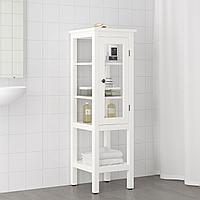 ХЕМНЭС Высокий шкаф со стеклянной дверцей, белый, 42x38x131 см, фото 1