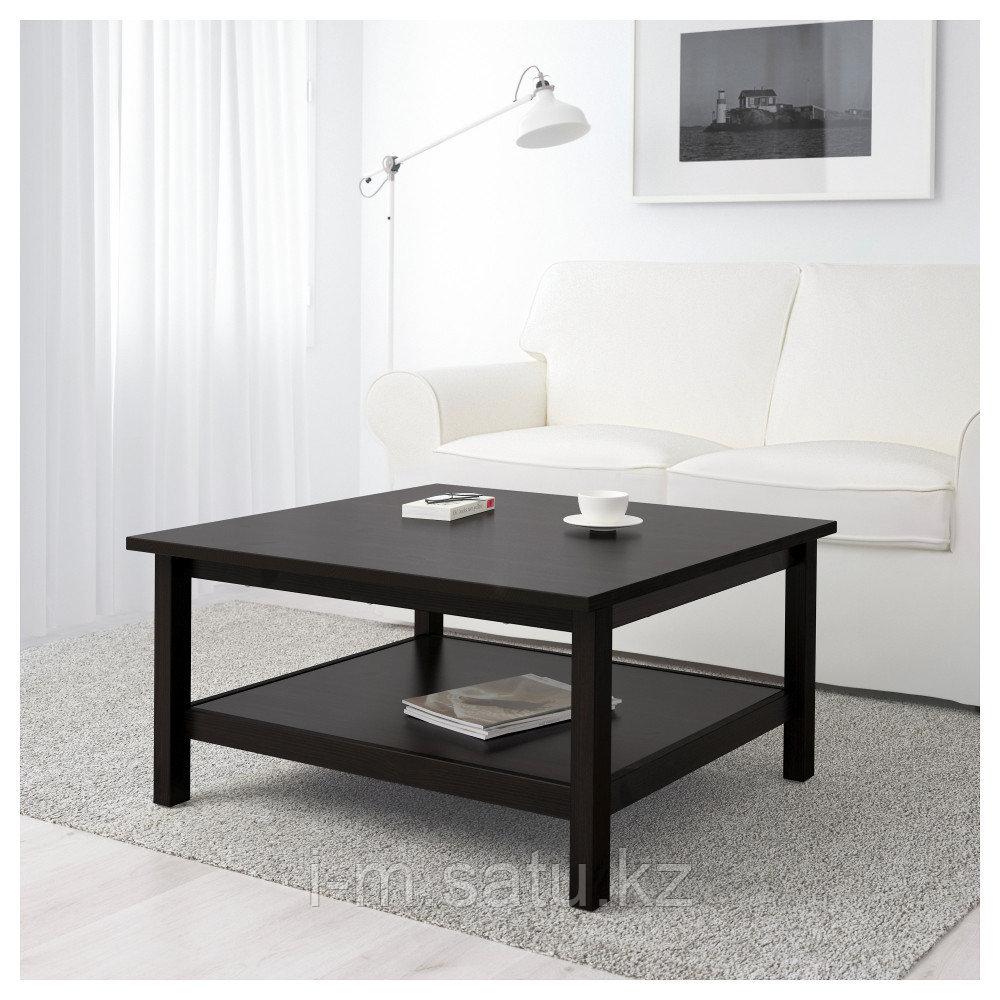 ХЕМНЭС Журнальный стол, черно-коричневый, 90x90 см