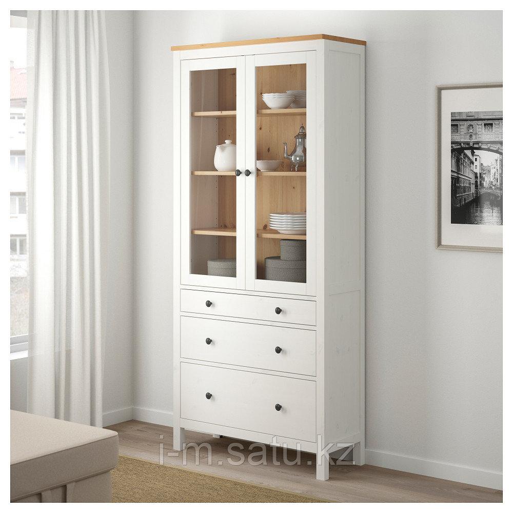 ХЕМНЭС Шкаф-витрина с 3 ящиками, белая морилка, светло-коричневый, 90x197 см