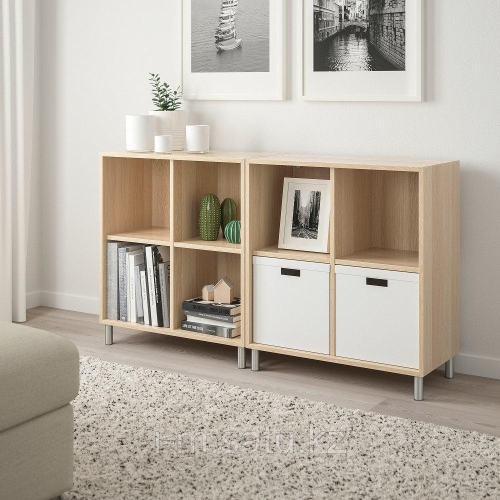 ЭКЕТ Комбинация шкафов с ножками, под беленый дуб, 140x35x80 см
