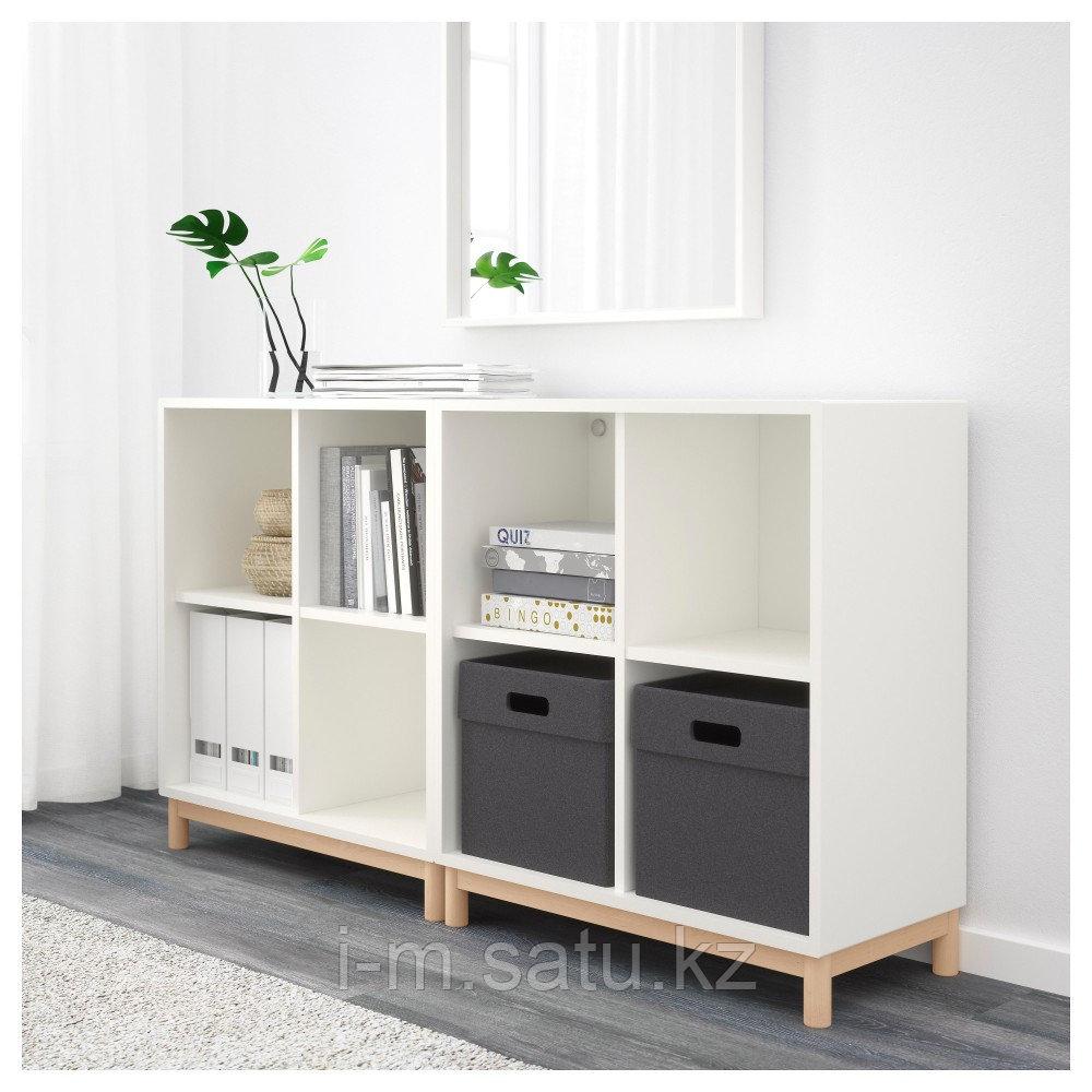 ЭКЕТ Комбинация шкафов с ножками, белый, 140x35x80 см