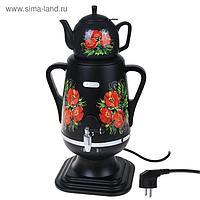 """Самовар электрический """"Добрыня"""" DO-423, 1850 Вт, 4 л, черный с цветами"""