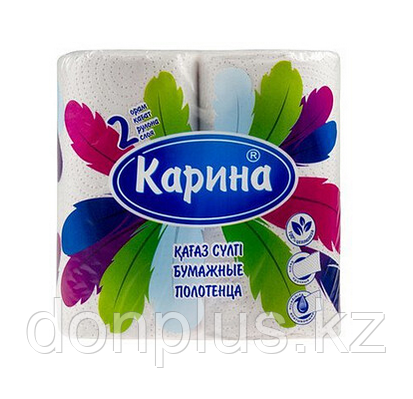 """Полотенца бумажные Карина """"Перья"""", 2-х слойные, 2 рулона в упаковке, 22 м, белые"""
