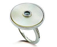 Серебряное круглое кольцо. Вставка: аквамарин, перламутр, циркон, вес: 4,2, размер: 16,5, покрытие р