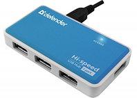 4-портовый мини-разветвитель USB 2.0 Defender Quadro Power (Blue), фото 1