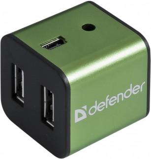 4-портовый мини-разветвитель USB 2.0 Defender Quadro Iron (Green)
