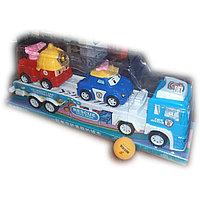 Инерционная машина,  автовоз с машинками, пластмассовая.