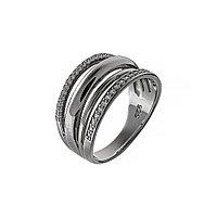 """Кольцо """"Полосы"""" из серебра. Вставка: белые фианиты, вес: 5 гр, размер: 19, покрытие родий"""