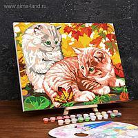Картина по номерам на холсте с подрамником «Котята в листве» 40×50 см