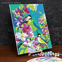 Картина по номерам на холсте с подрамником «Птицы в цветах» 40×50 см