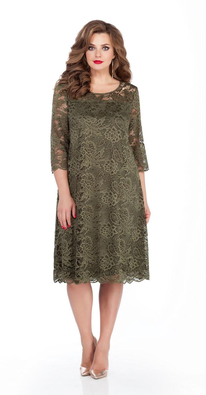 Платье TEZA-249/6, хаки, 50