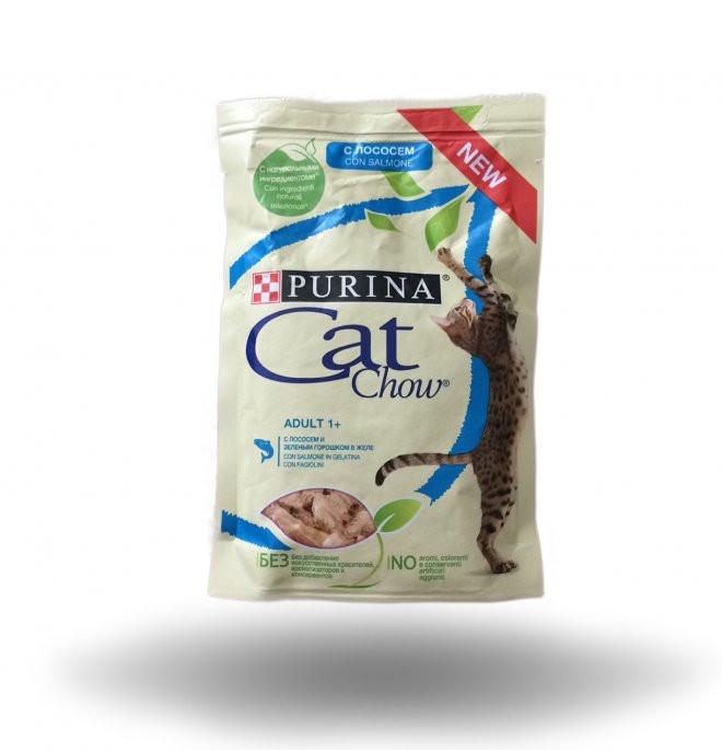Влажный корм для кошек Кэт чау Лосось с зелёной фасолью