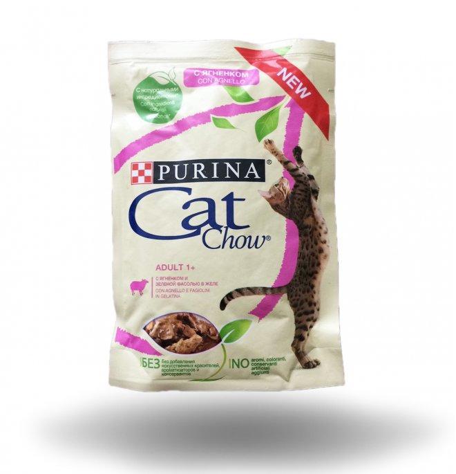Влажный корм для кошек Кэт чау Ягнёнок с зелёной фасолью
