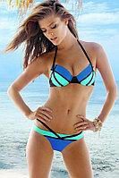 Яркий, модный трехцветный купальник-ПУШАП