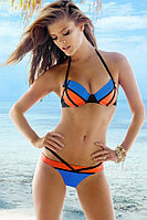 Оранжево-сине-черный купальник ПУШАП