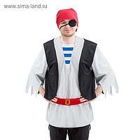 """Карнавальный костюм """"Пират"""", бандана, повязка на глаз, рубаха, пояс, р. 52-54, рост 170-175 см"""