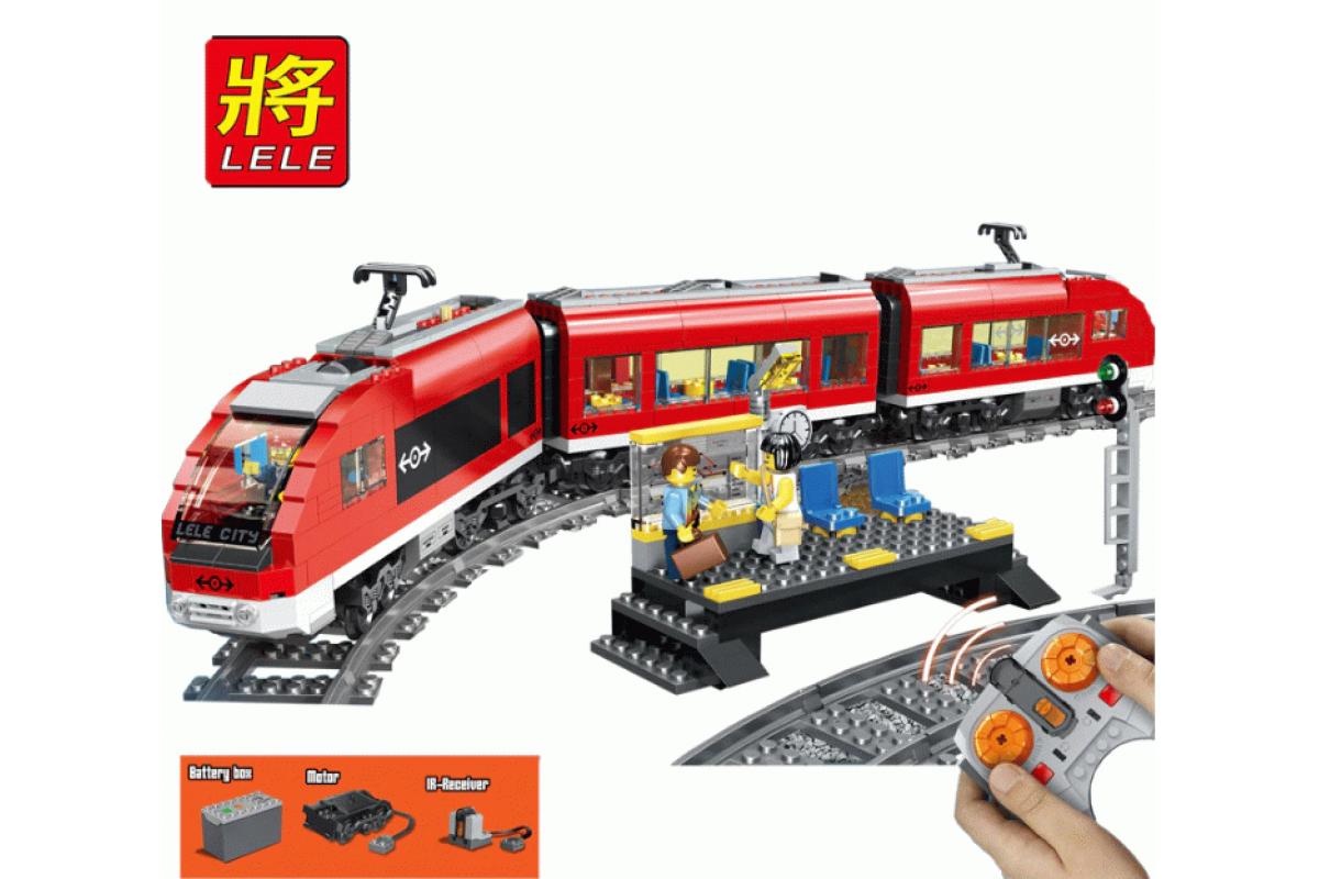Конструктор Пассажирский красный поезд Lele Сити 763 детали - фото 7