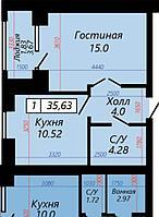 1 комнатная квартира в ЖК Sati 35.63 м², фото 1