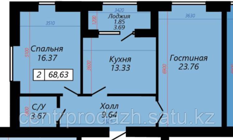2 комнатная квартира в ЖК Sati 68.62 м²
