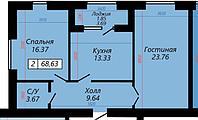 2 комнатная квартира в ЖК Sati 68.62 м², фото 1