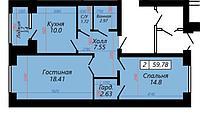 2 комнатная квартира в ЖК Sati 59.78 м², фото 1