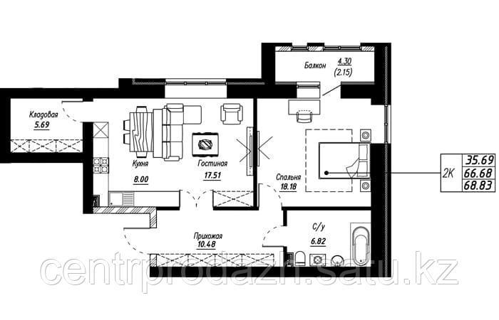 2 комнатная квартира в ЖК Brussel 68.83 м²