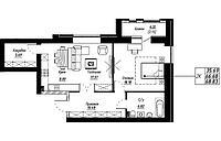 2 комнатная квартира в ЖК Brussel 68.83 м², фото 1
