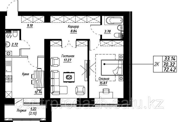 2 комнатная квартира в ЖК Brussel 72.42 м²