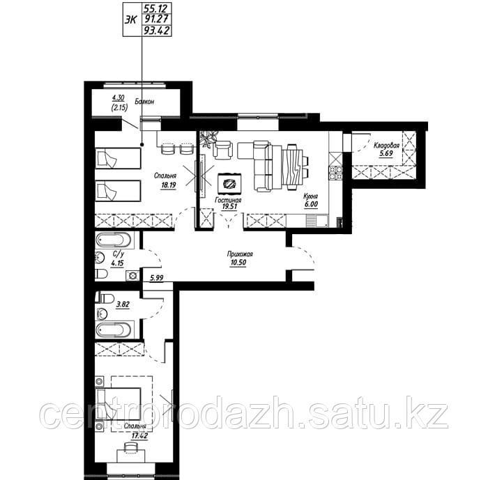 3 комнатная квартира в ЖК Brussel 93.42 м²