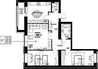 3 комнатная квартира в ЖК Brussel 97.76 м², фото 1