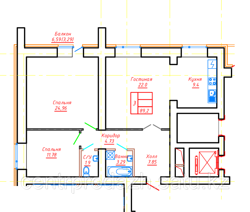 3 комнатная квартира в ЖК  Brussel 2 88.85 м²