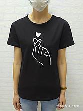 Женская футболка Korean heart чёрный