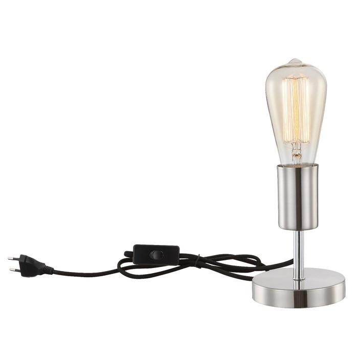 Настольная лампа NOEL 1x60Вт E27 матовый никель 10x10x14см
