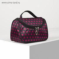 Косметичка-сумка, отдел на молнии, зеркало, цвет чёрный/малиновый