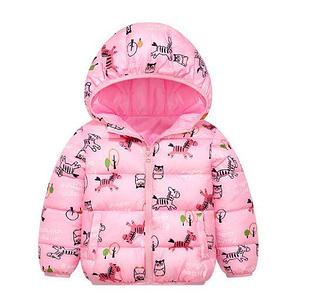 Куртка осенняя, с зебрами, цвет розовый
