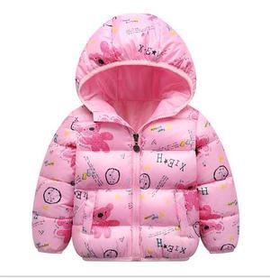 Куртка осенняя  цвет розовый с мишками