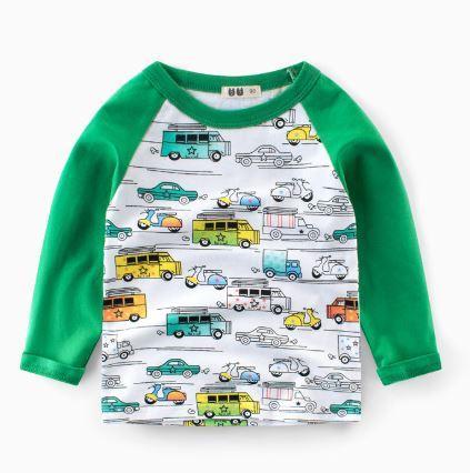 Кофта детская, с машинками, цвет зеленый