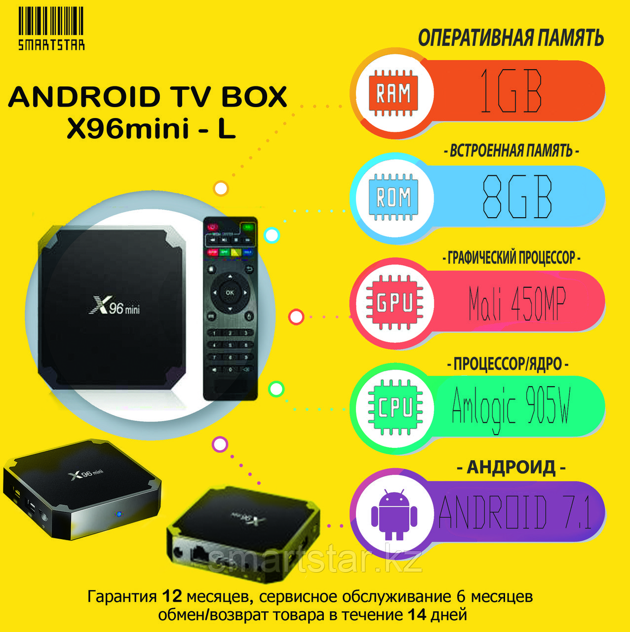 ANDROID TVBOX приставка X96MINI (1/8GB)