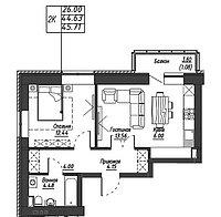 2 комнатная квартира в ЖК Варшава 46.43 м², фото 1