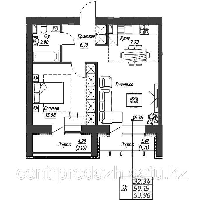 2 комнатная квартира в ЖК Варшава 53.96 м²