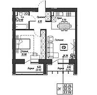 2 комнатная квартира в ЖК Варшава 53.96 м², фото 1