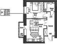 2 комнатная квартира в ЖК Варшава 54.35 м², фото 1