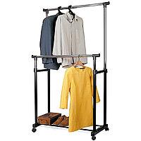 Tatkraft PHOENIX Стойка для одежды двойная, передвижная, на колёсиках, L85.5xH101-170xD45 cm